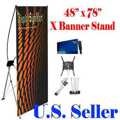 "X Banner Stand 48"" x 78"" Trade Show Display Free Bag Pop Up XL Jumbo"