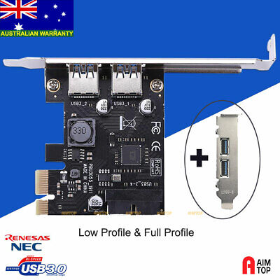 USB 3.0 2 Back Ports + 20pin Internal Connecter Card with Full & Low Profile