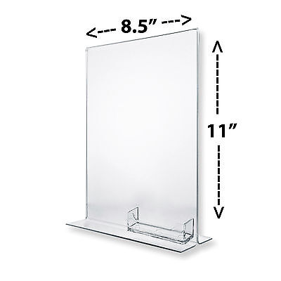 """8-1/2"""" x 11"""" Clear Acrylic Sign Frames with Business Card Holder For Counter Top"""