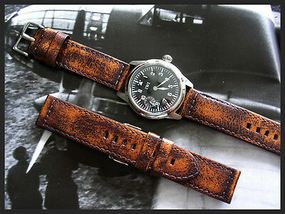 92194e4021eaa 26mm Distressed Aged Vintage Military Bomber Pilot leather watch band IW  SUISSE