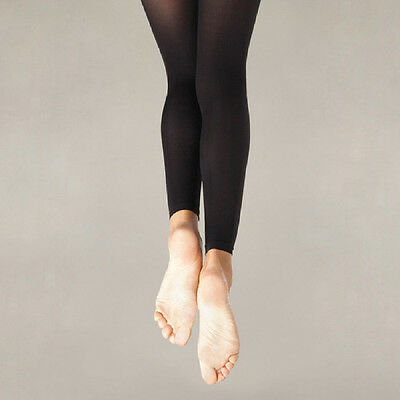Body Wrappers C33 Girl's Size Small/Medium Black Footless Tights