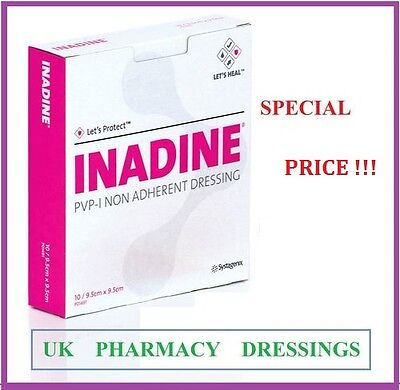 Inadine dressing pvp-iodine 9.5cm x 9.5cm box of 10 *****BEST   PRICE ******