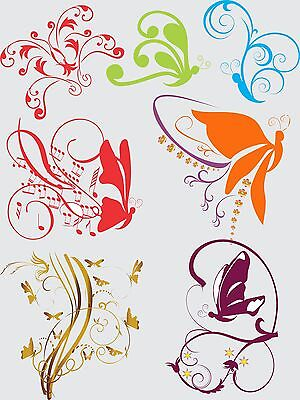 50 Swirl Butterfly Abstract Tribal Flower Vector Clipart