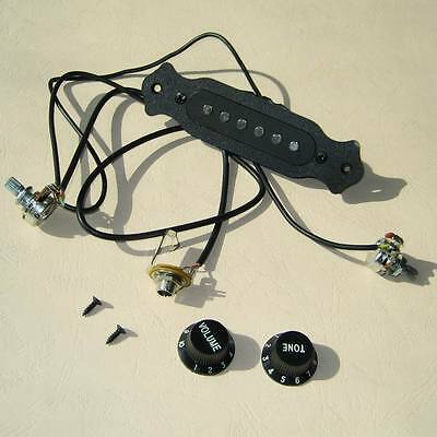 Single Coil Magnetic Acoustic Guitar Pre-Wired Pickup Set Up Pots Knobs Jack BLK