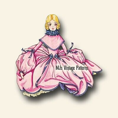 French Boudoir Bed Doll 1920s Vintage Pattern #9 ~ BODY & Dress Clothing RARE+++