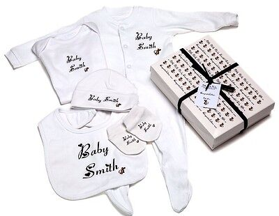 GREAT PERSONALISED BABY GIFT - Unisex baby newborn/baby shower babygrow Gift Box