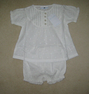 BNWT Little White Company Smocked Blouse & Bloomer Set newborn to 18 months