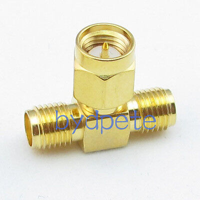T type SMA male plug to 2 double SMA female jack RF Connector Adapter