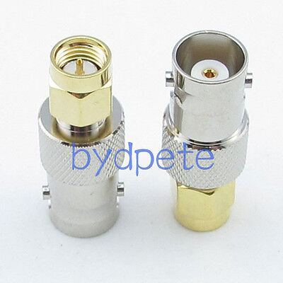 2pcs SMA male plug to BNC female jack Straight RF Connetor Adapter