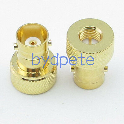 2pcs SMA male plug to BNC female jack Gold Straight RF Connector Adapter