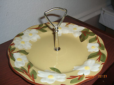 STANGLE ROUND SERVING PLATE WITH CENTER HANDLE HAND PAINTED