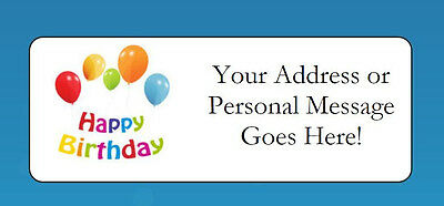 60 Personalized Happy Birthday Balloons Return Address Labels