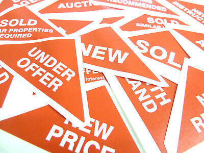 Property Sales Labels Red Small Triangles Estate & Letting Agents Stickers