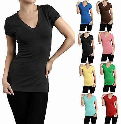 SHORT SLEEVE V NECK Basic Plain Solid T-Shirt WomenTop Tight Fitted Stretch