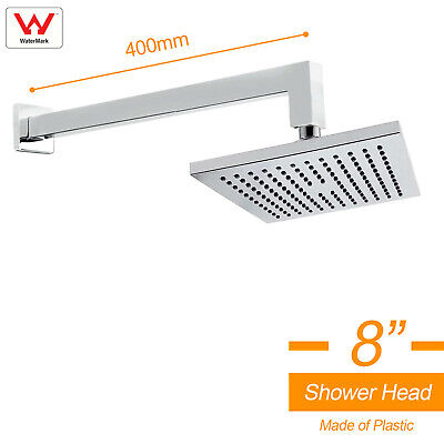 """Square 8"""" Rainfall Shower Head Wall Mount Straight Arm Single Square Mixer Tap"""