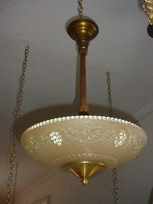 As Found Mid Century Modern Dome Light Fixture Rope & Tassel Hanger 5560