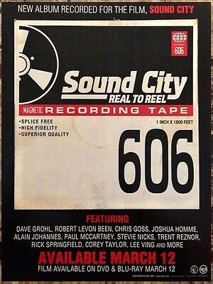 SOUND CITY REAL TO REEL 2013 Ltd Ed Window Cling Display Mini Poster! Dave Grohl