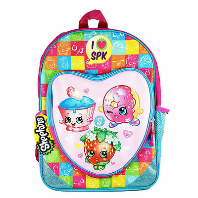 "Shopkins Backpack 16"" with Heart Shaped Zipper Front Pocket School Bag for Kids"