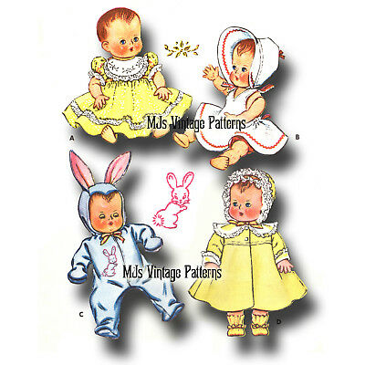 """Vtg 1950s Baby Doll Clothes Dress Pattern ~ 13"""" Tiny Tears, Dy Dee, Betsy Wetsy"""