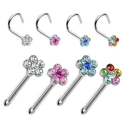 Flower Gem Nose Stud Screw Curved Straight Pin Ring Piercing Surgical Steel