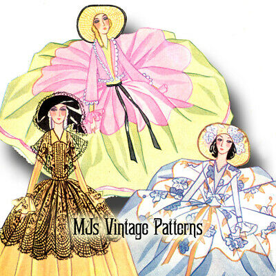 Tiered French Boudoir Bed Doll 1930s Vintage Pattern #7 ~ 2 Dresses Colonial