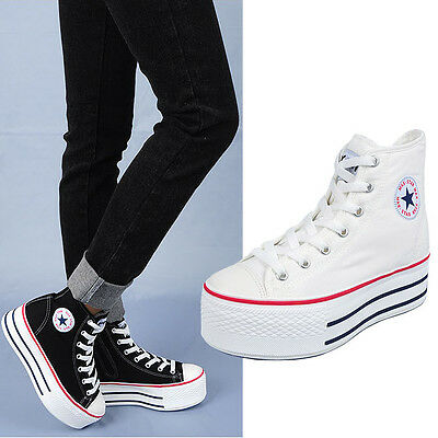 Womens Ladies High Top Canvas Lace-Up Comfort Inside Zip Platform Sneakers Shoes
