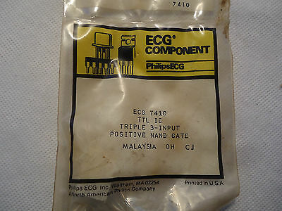 NEW FACTORY SEALED PHILIPS ECG ECG 7410 TRIPLE 3-INPUT POSITIVE NAND GATE