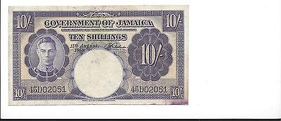 Jamaica 15-8-1958  10  Shillings  Pick 39  VF stain