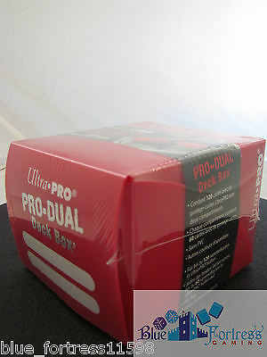 RED SMALL ULTRA PRO PRO-DUAL DECK BOX MTG WoW POKEMON YUGIOH HOLDS 120 CARDS