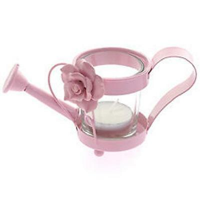 Watering Can Shaped TEALIGHT HOLDER....... Pink metal garden summer rose flowers
