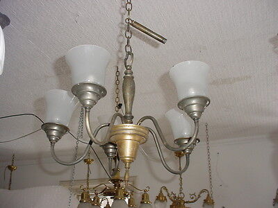 As Found 5 Arm Chandelier Light Fixture with Frosted Shades 5580