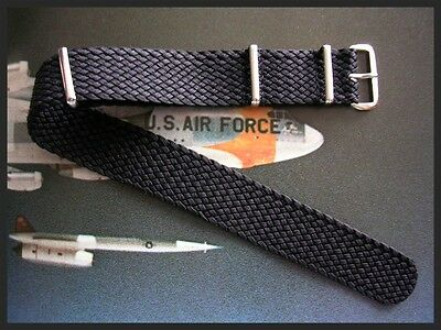 18mm SS Braided NATO g10 ® woven Black Nylon watch band strap militaryIW SUISSE