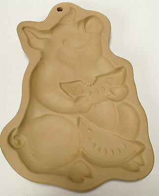 1992 Brown Bag Cookie Art Mold Pig Piggy Eating Watermelon Hill Design Summer