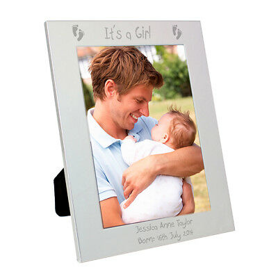 "Personalised Engraved Boy Girl Silver Photo Frame 5""x7"" New Baby Gift Idea"