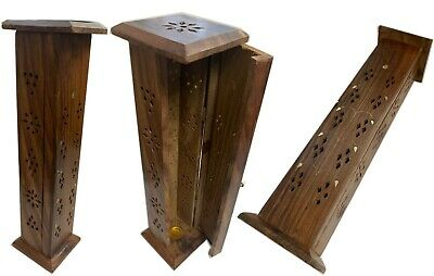Incense Burner Stand Holder Coffin Hand Made Carved Wood USA SELLER