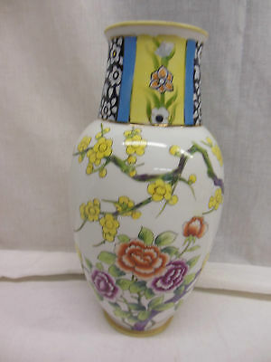 "NIPPON HAND PAINTED FLORAL VASE    9.5""                                  ro2-186"