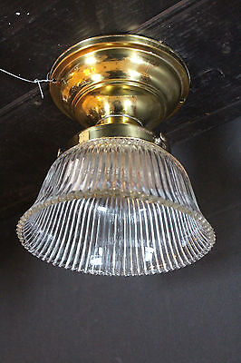 Industrial Ceiling Mount Light Fixture w/ Holophane Shade & Polished Fitter 5597