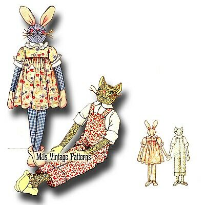 1930s Vintage Long-Legged Bunny & Cat Stuffed Animals in Clothes Pattern