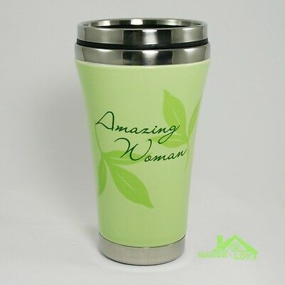 "Abbey Press ""Amazing Woman"" Travel Mug Ceramic Shell & Stainless Interior 12 oz."