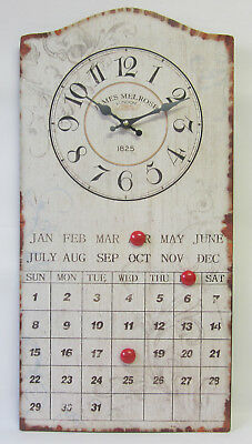 Rustic Tin Wall Clock French Provincial Country Style With Perpetual Calendar