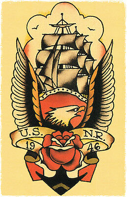 108 US NR NAVY 1946 Mast Ship Sailor Jerry Traditional style Flash poster print