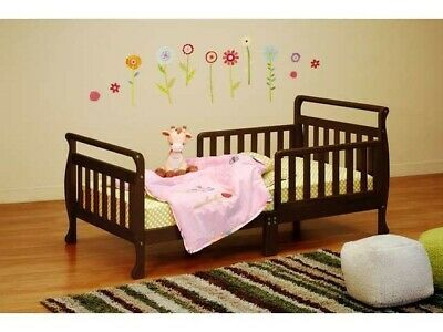 Kid's Toddler Solid Wooden Sleigh Bed Safety Room Furniture Expresso