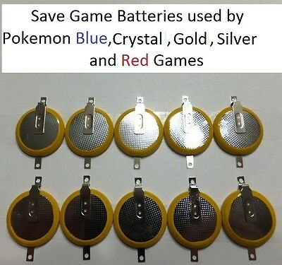 Lot of 10 Pokemon Blue, Crystal, Gold, Silver, Red Save Game Batteries CR2025
