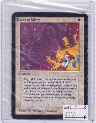 "MTG: BLAZE OF GLORY from ALPHA Set - Rare Card ready to be ""GRADED"" year 1993!!!"