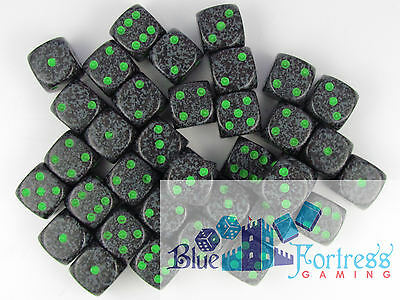 CHESSEX SPECKLED 12mm 36 D6 EARTH DICE SET FOR MTG WoW WARHAMMER