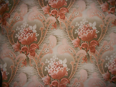 Antique French Art Nouveau  Fabric~Lily of the Valley~Olive Sage Rust Brown