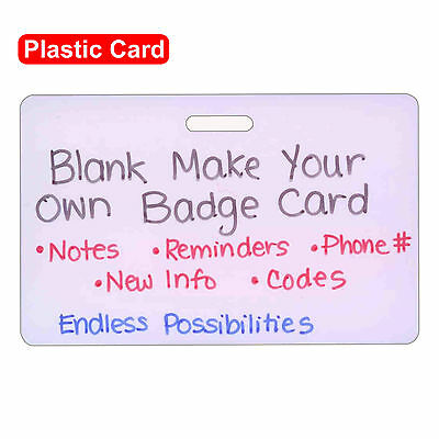 Blank Plastic Horz Make Your Own Badge ID Card Pocket Reference Nurse Paramedic
