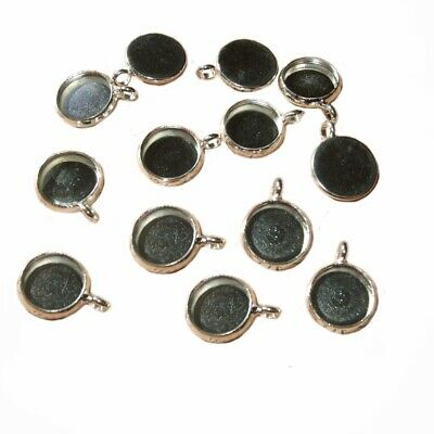 10 ROUND SILVER COLOUR 10mm CAMEO CABOCHON PENDANT FRAME SETTING BLANK TRAY C01