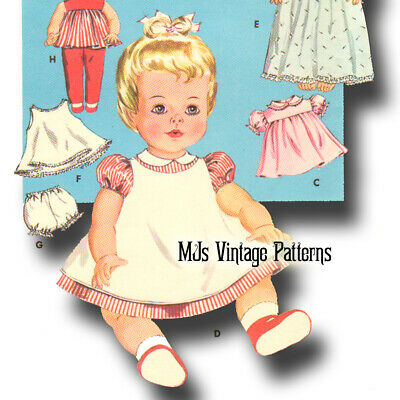 """Vintage Baby Doll Clothes Dress Pattern 15"""" 16"""" Tiny Tears, Betsy Wetsy, Dy Dee"""