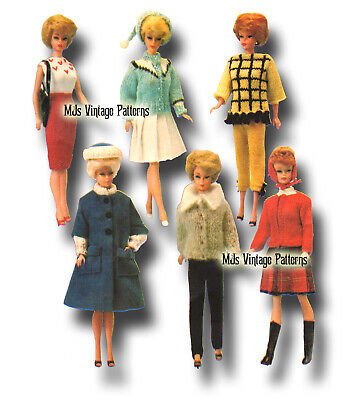 Vintage Doll Clothes Knitting Pattern ~ Barbie, Midge, Stacey, Tammy